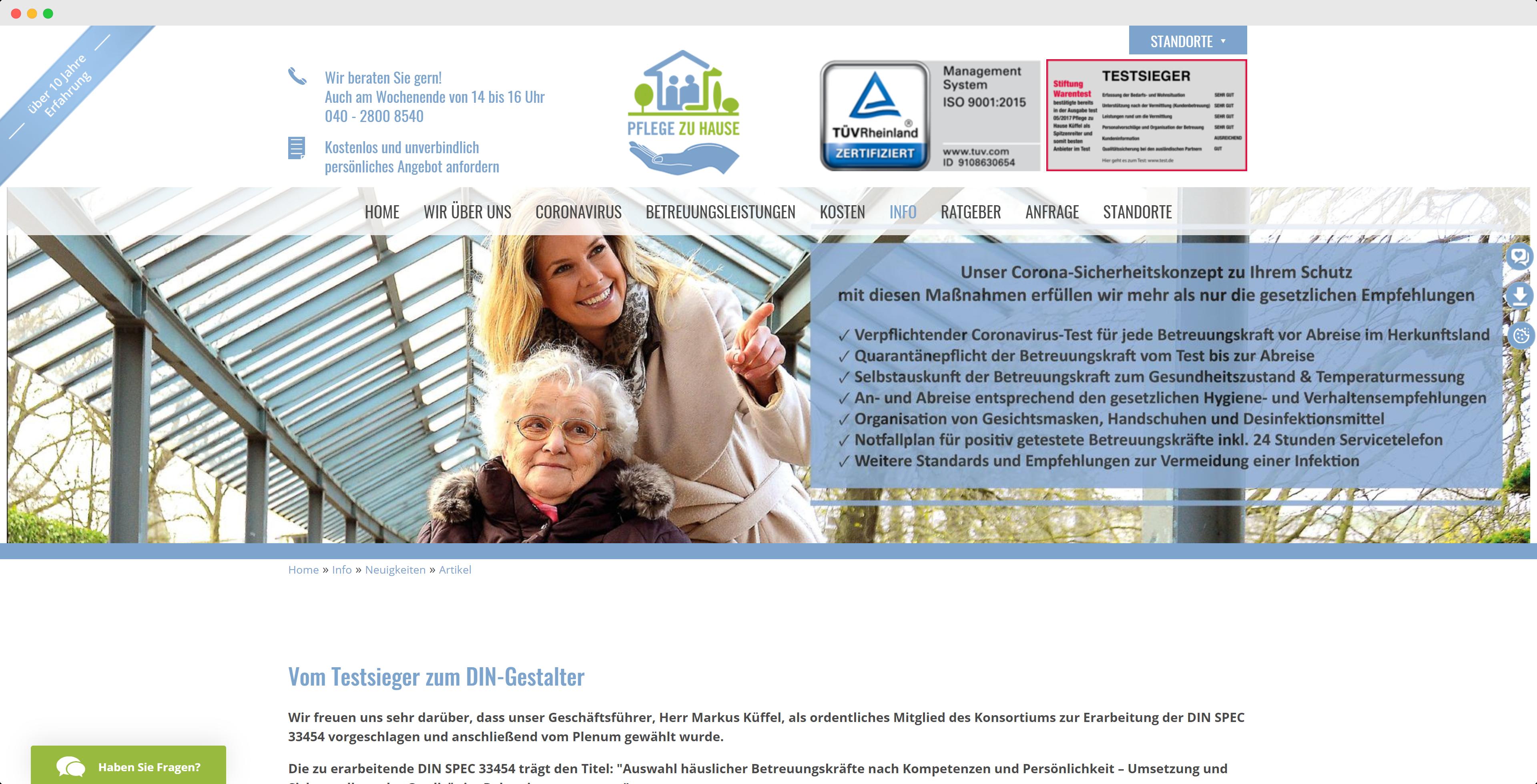 pflegezuhause.info berichtet über Ziele der DIN SPEC