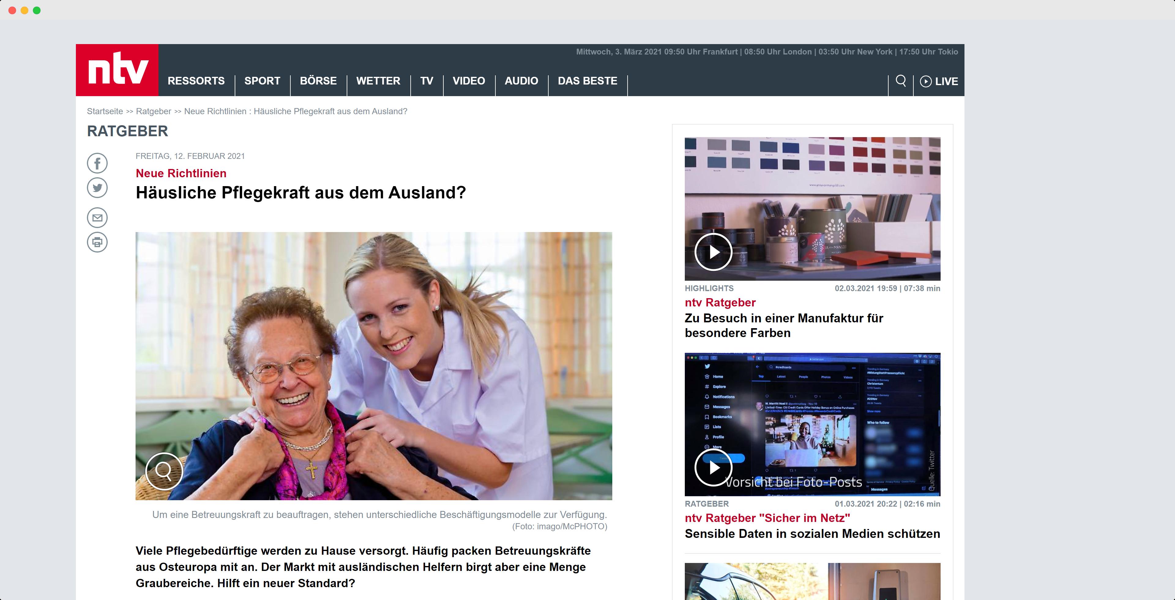 n-tv berichtet über den DIN-Standard für die häusliche BEtreuung