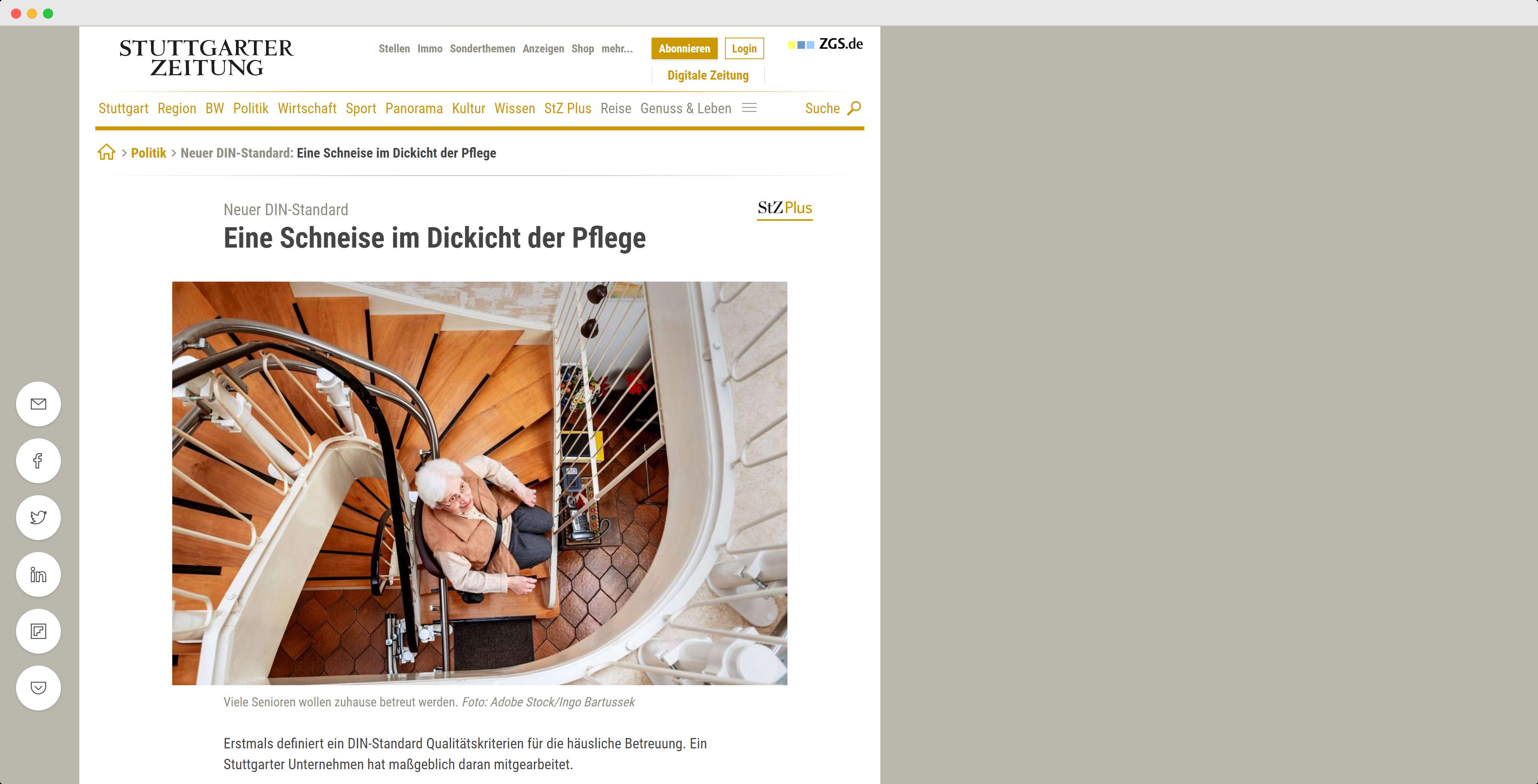 Sie Stuttgarter Zeitung erläutert die Verbesserungen der DIN SPEC 33454 für die Pflege zu Hause