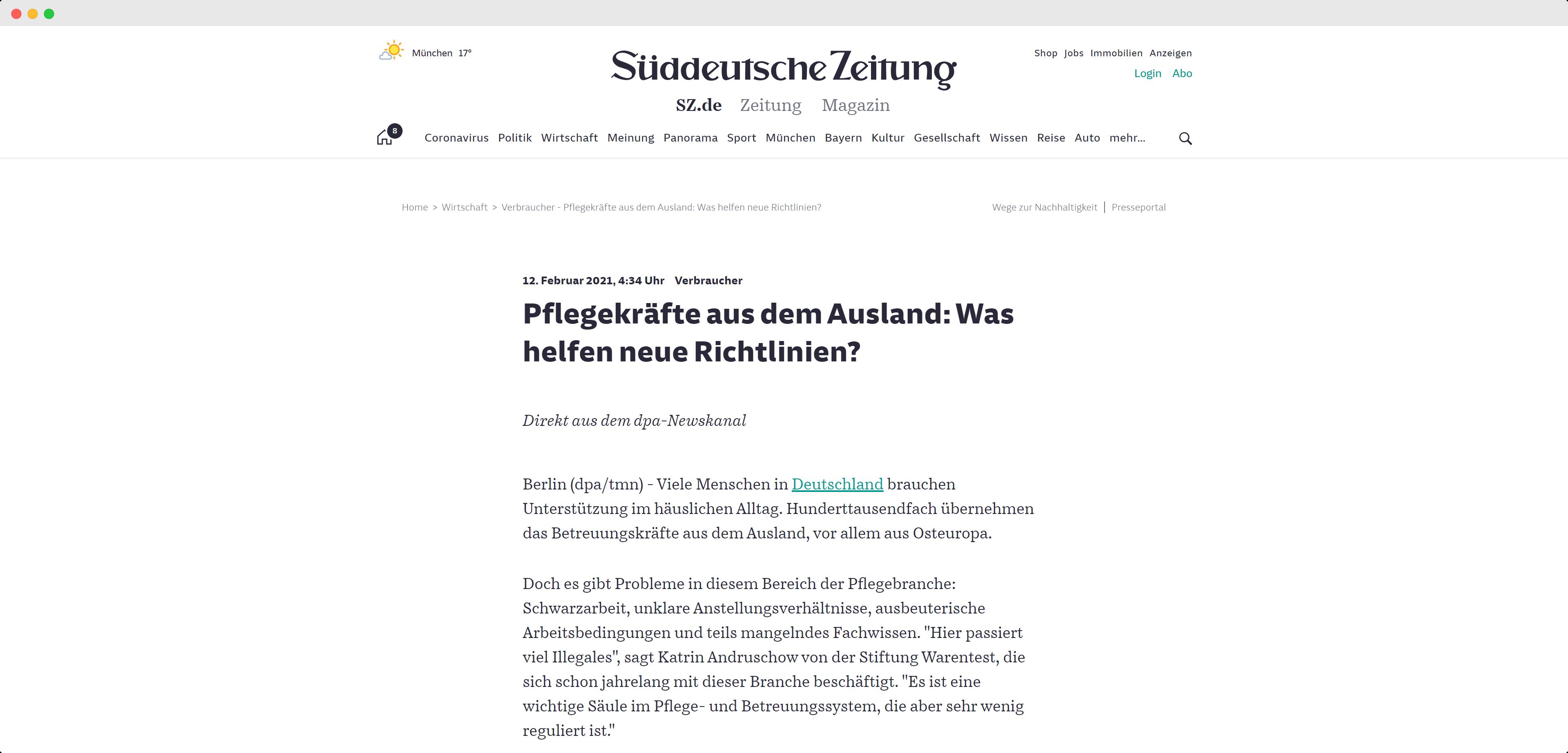 """Berichterstattung der Süddeutschen Zeitung über die Verbesserungen der DIN SPEC 33454 für die sogenannte """"24 Stunden Pflege"""""""